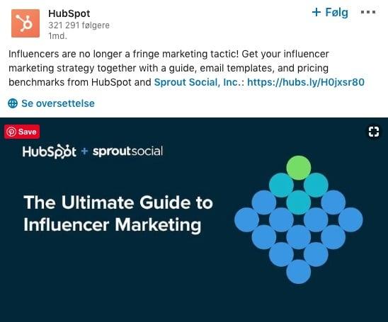 HubSpot LinkedIn post