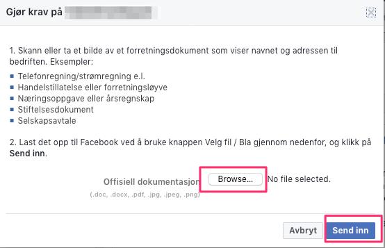 Gjøre krav på facebook side. Godkjent dokumentasjon