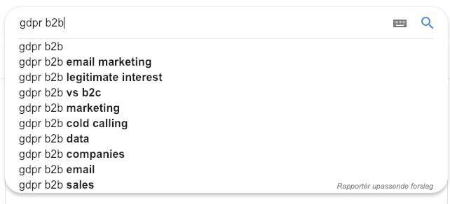 Skjermdump fra søk i Google på GDPR B2B