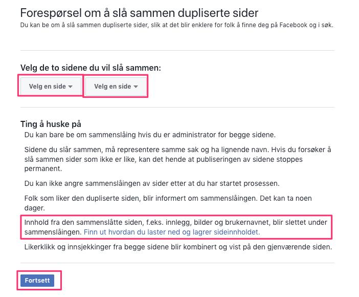 39f2f663 informasjon om sider som blir slått sammen - facebook